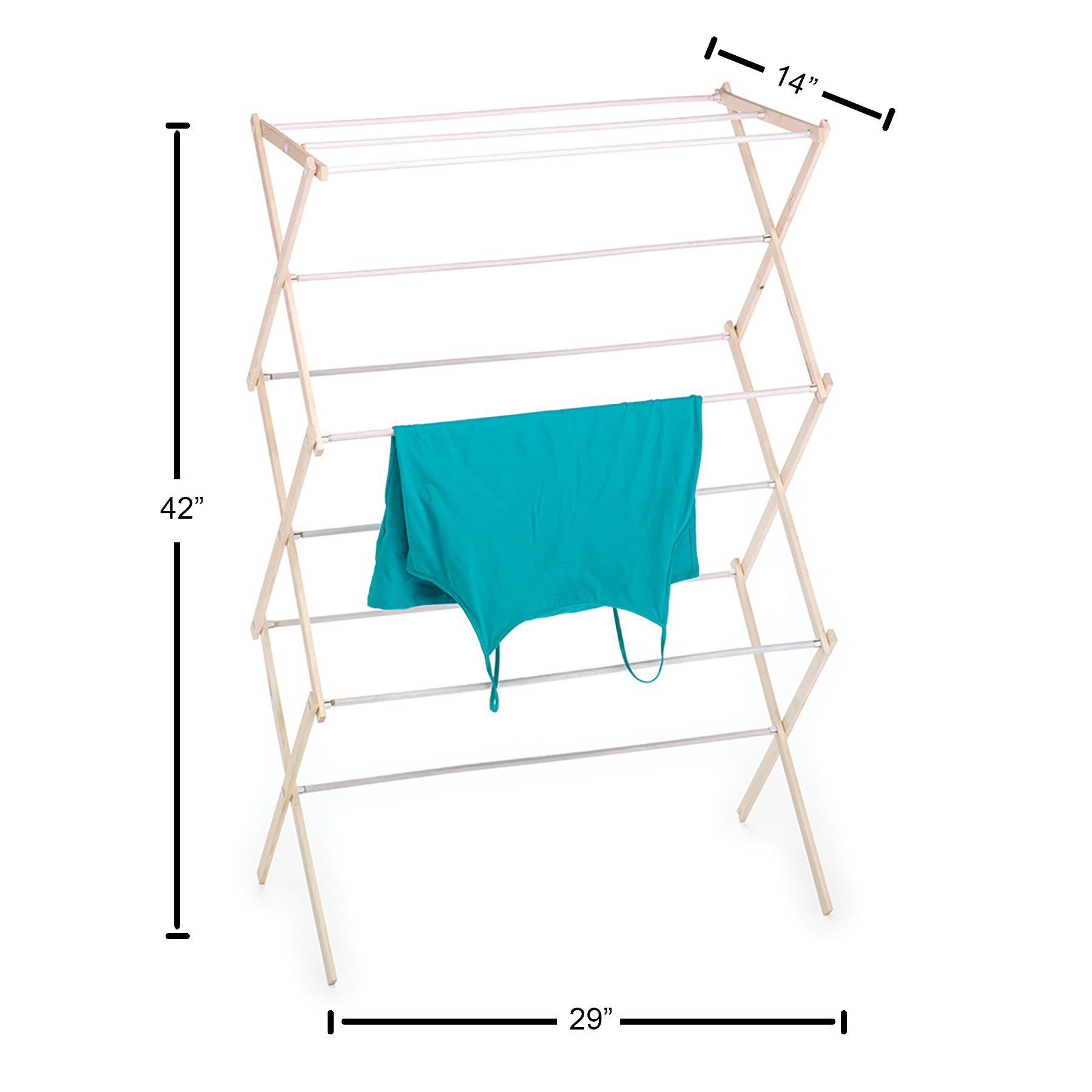HOMZ Drying Rack, Ready to Assemble, 42'' x 29'' x 14'', Natural Wood (4230031) by HOMZ (Image #3)