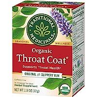 Traditional Medicinals Organic Throat Coat Herbal Tea Caffeine Free, 16 Count