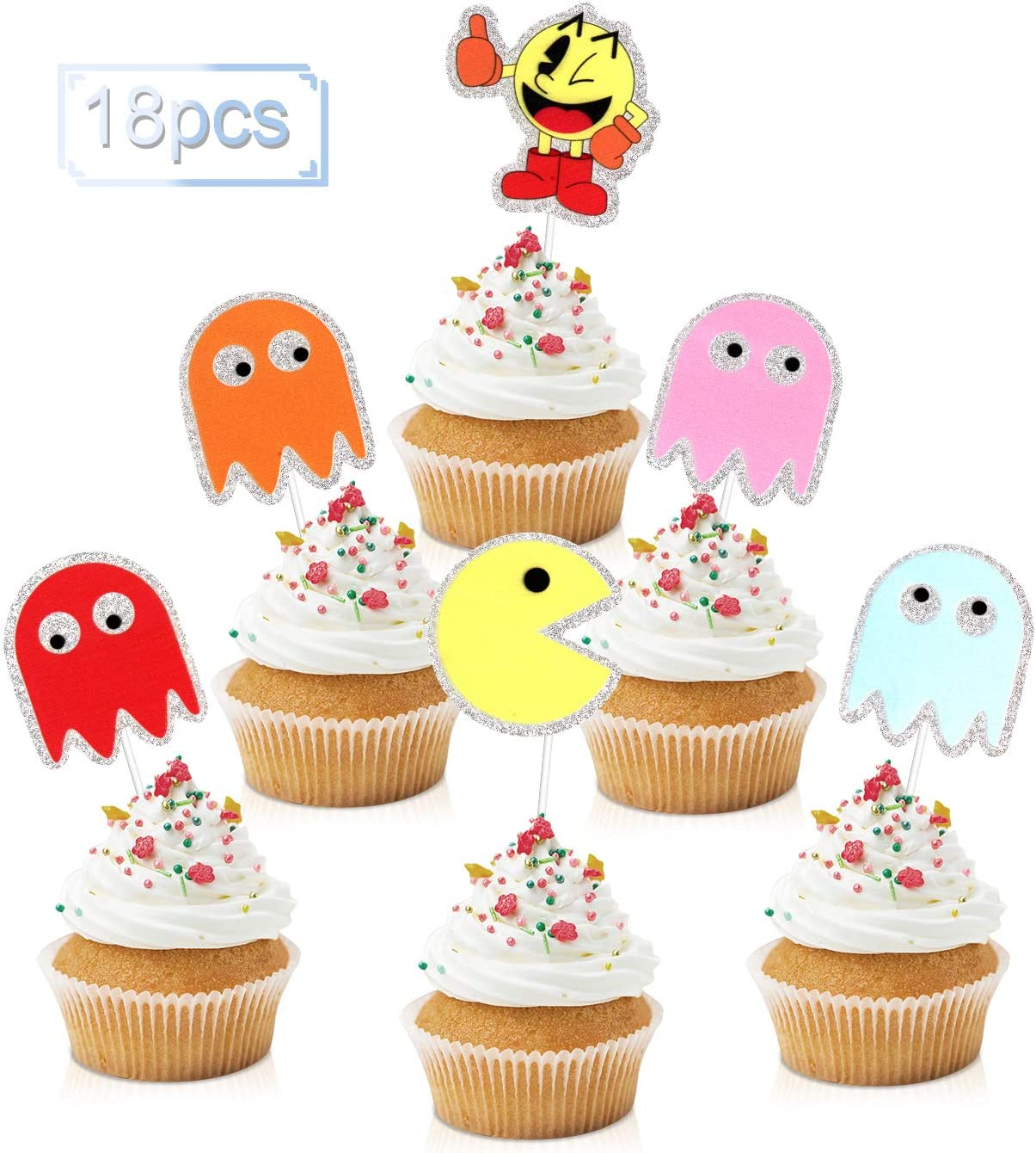 18pcs Pac-Man Cupcake Toppers - Retro Video Game Party Glitter Pacman Ghost Cupcake Toppers Supplies - Boys 80'S Game On Party Dessert Food Picks Decorations