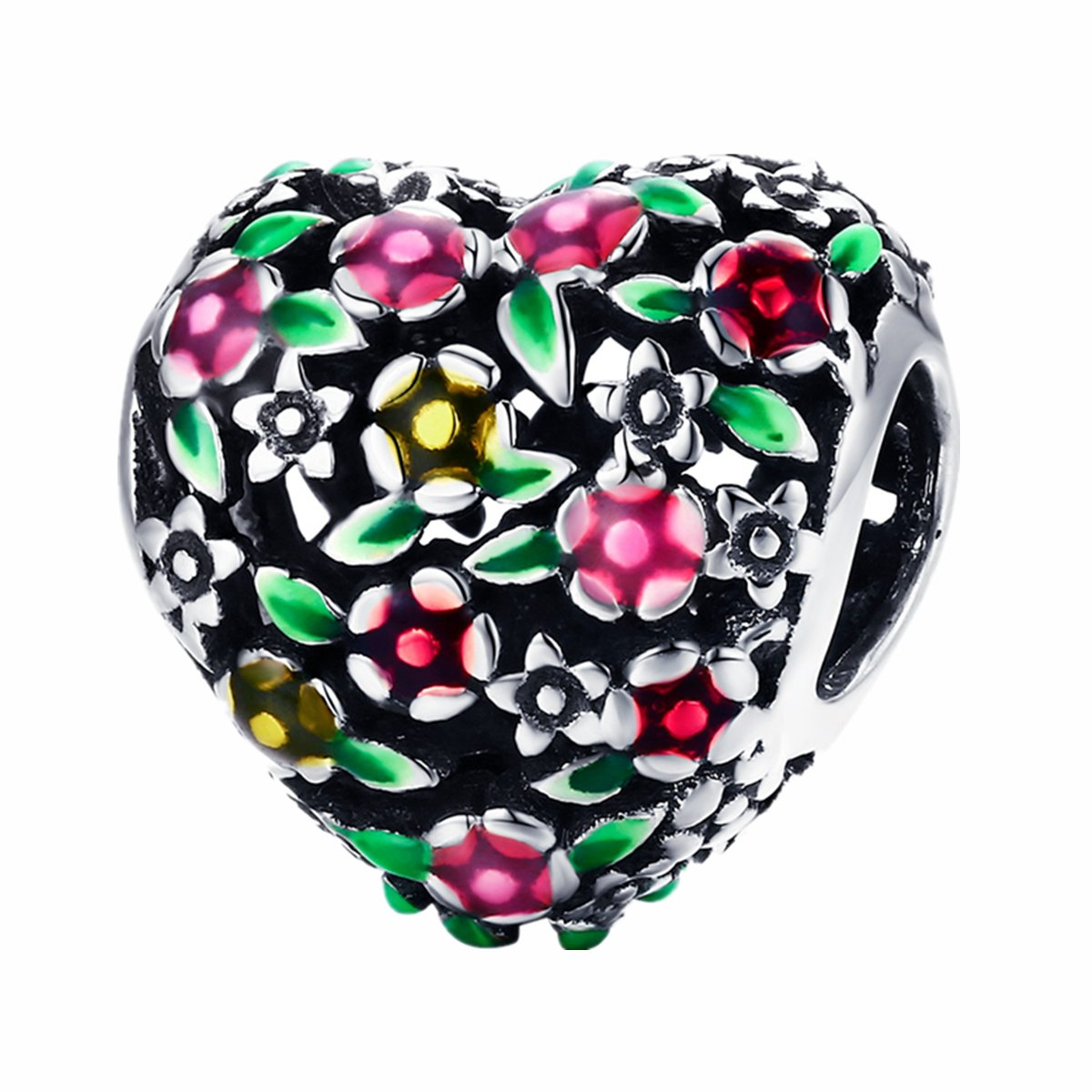 BAMOER 925 Sterling Silver Heart Charm Bead Love Charm Fit for Snake Chain Bracelet Spring Flower Charm