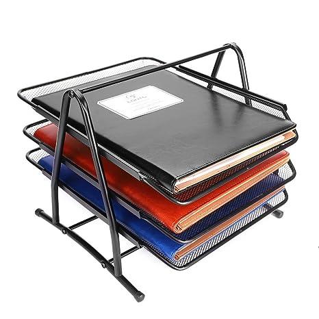 Organizador de escritorio de malla metálica para carpetas, carpetas, archivadores, bandejas de escritorio