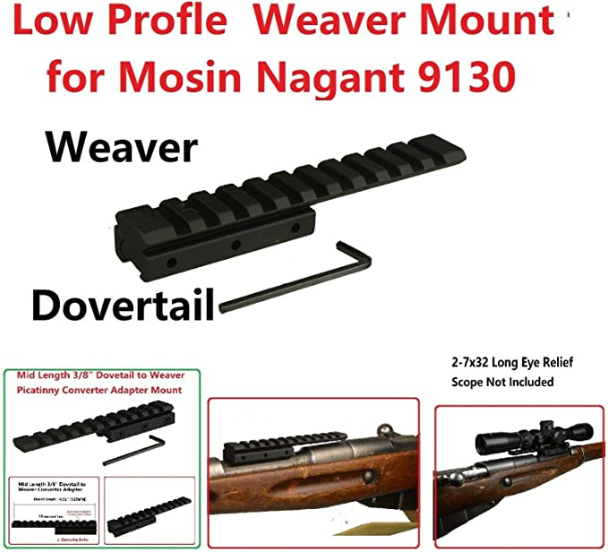 Mosin Nagant 91//30 rear Sight to Picatinny Weaver Rail Adapter Scope Mount