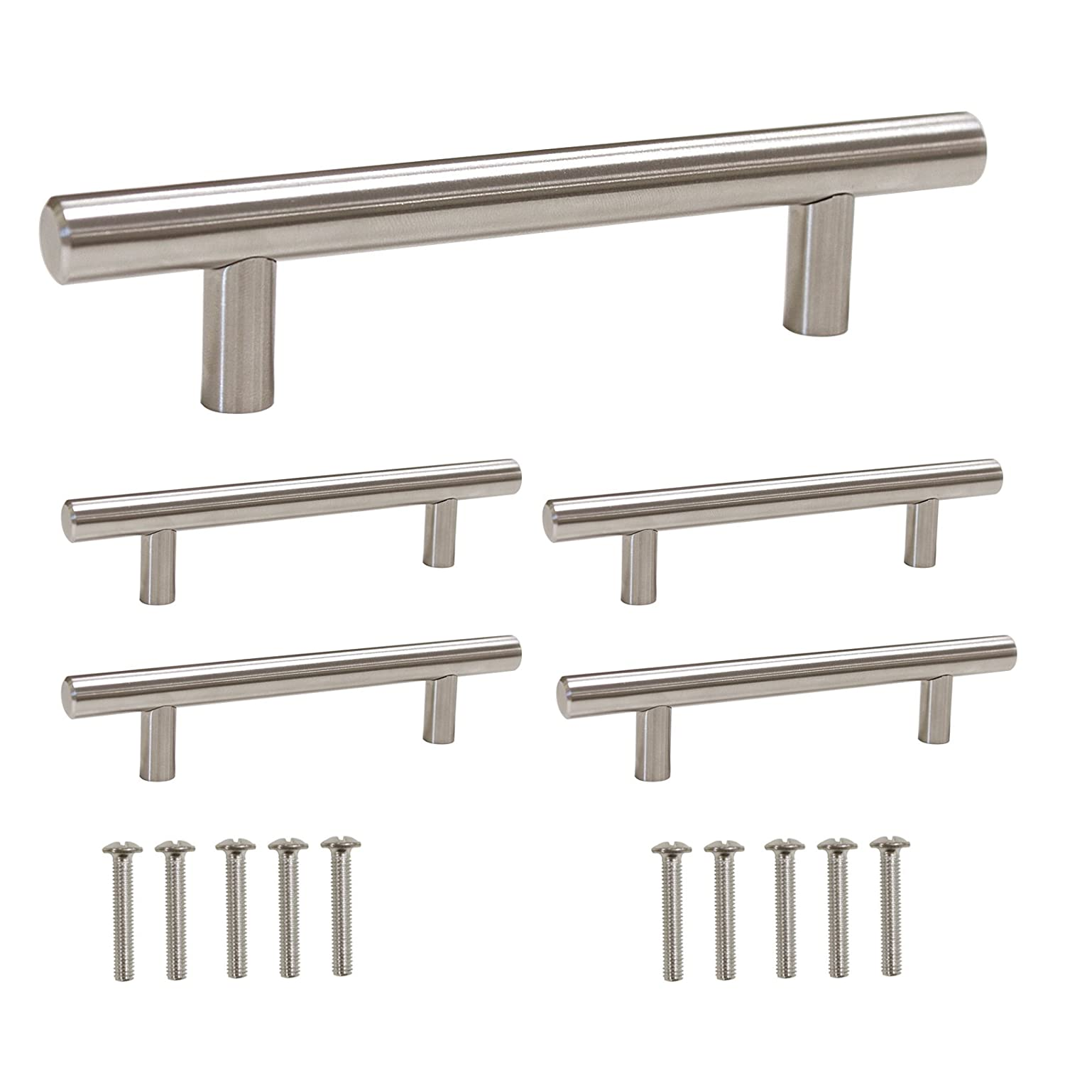 Gobrico GB201HSS96 Kitchen Cabinet Handles Stainless Steel for Modern Drawer Dresser Pull(Hole Center:96mm ,5 Pack)