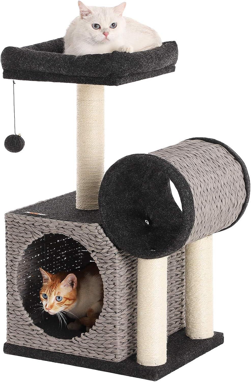FEANDREA Árbol para Gatos, Torre para Gatos, Papel Tejido, con Cueva, Negro y Gris PCT20GB: Amazon.es: Productos para mascotas