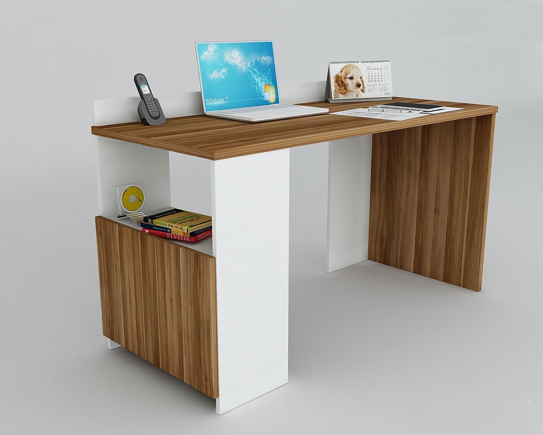 EASY Escritorio - Blanco / Nogal - Escritorio Oficina - Mesa de ...