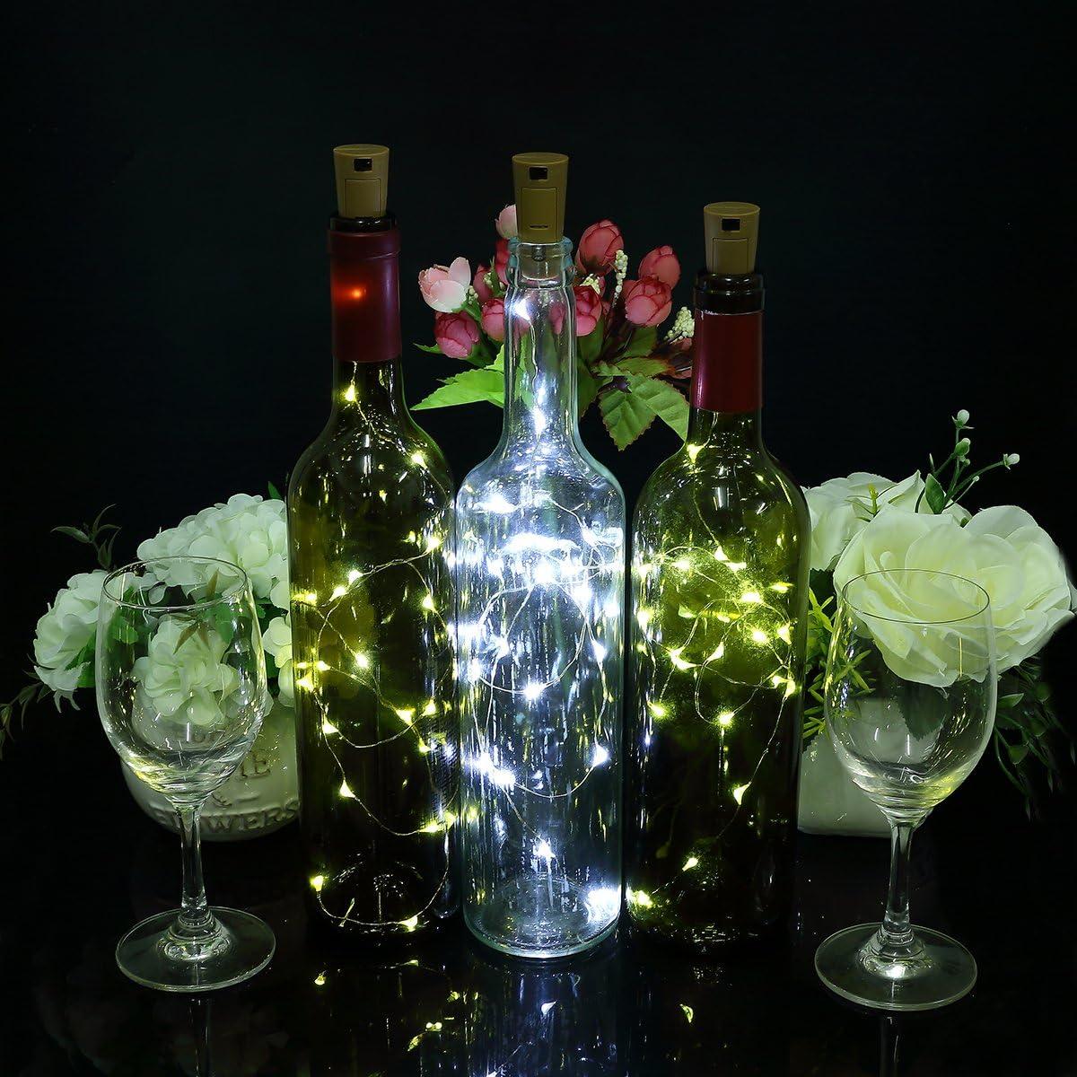 Zulux 6pcs Bottle Lights – 39 inch 20 LED Lights for Bottles, Wine Glass Light for Bottle DIY, Party, Decor, Christmas, Halloween, Wedding (White)