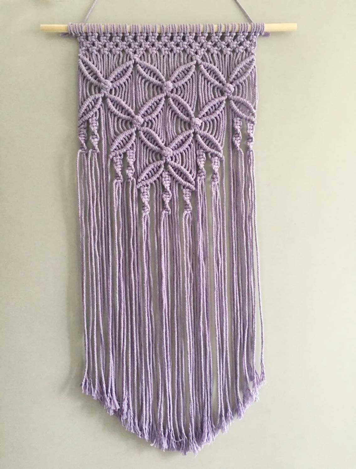 Winterdemoon Handmade Cotton Home Decor Macrame Wall Hanging Purple