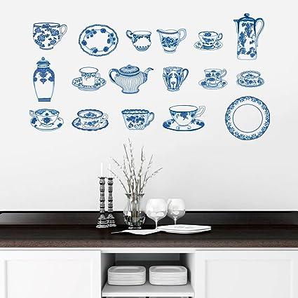 DecalMile Cucina Adesivi Murali Set da Tè Cinese Removibile Adesivi ...