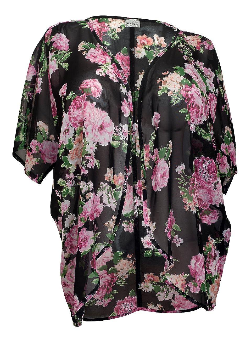 fcebd4842f5 eVogues Plus Size Floral Chiffon Kimono Cardigan Black - 1X at Amazon  Women s Clothing store