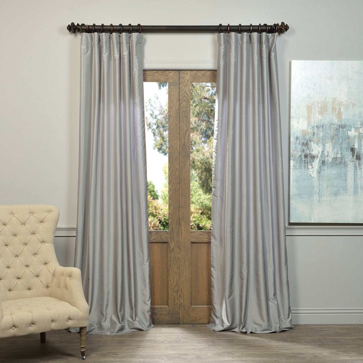 Half Price Drapes PDCH-KBS9-120 Vintage Textured Faux Dupioni Silk Curtain, Silver