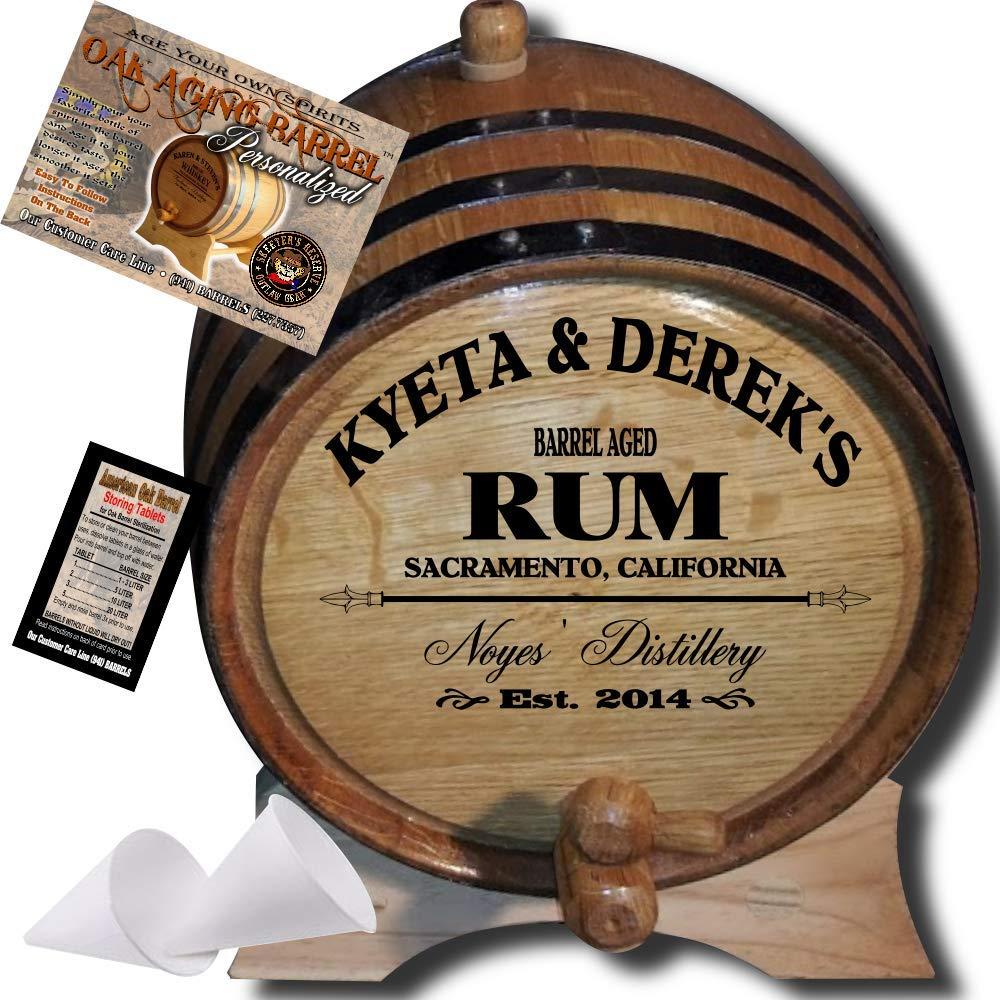 Personalized American Oak Rum Aging Barrel (060) - Custom Engraved Barrel From Skeeter's Reserve Outlaw Gear - MADE BY American Oak Barrel - (Natural Oak, Black Hoops, 1 Liter)