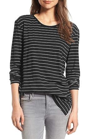 2fae3f0236b ChongXiao Women Striped Long Sleeve T-Shirt O-Neck Black and White Cute Long