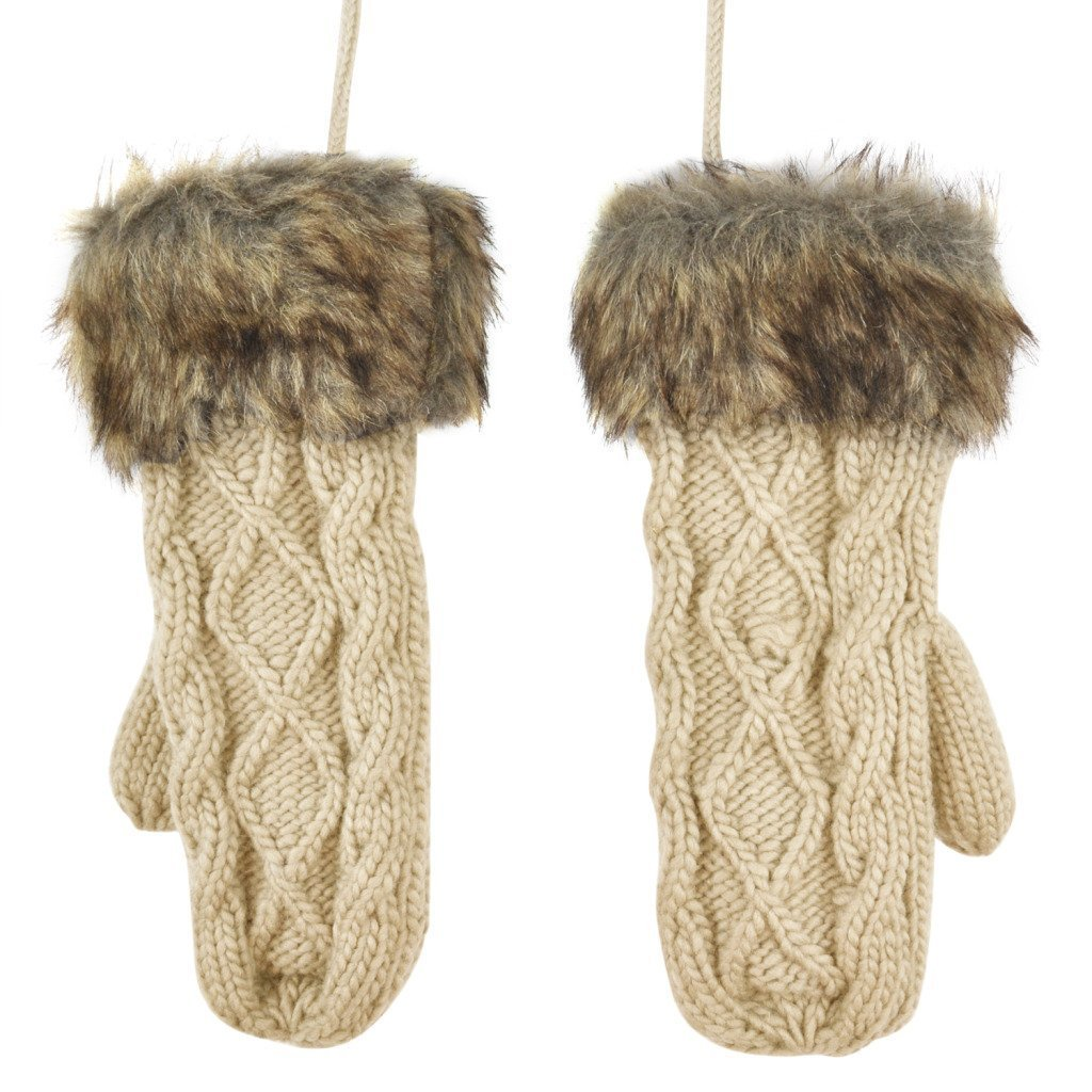 nalmatoionme mujeres Ladies Invierno Caliente Lana de punto guantes de piel con forro polar de trapo...