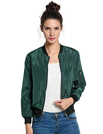Amazon Cnlinkco Women Bomber Jacket Ladies Solid Classic Zip