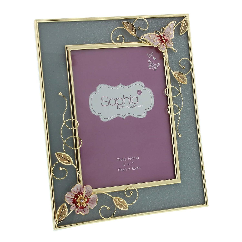 Amazon.de: Sophia Glas & Rose Gold Draht pink butterfly Bilderrahmen ...