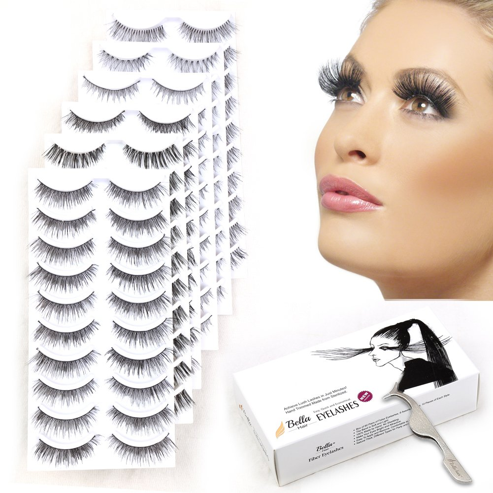 8c294f1fcdd Amazon.com : 60 Pairs Natural False Eyelashes Pack with Tweezers |  Ultra-Thin Lash Band | Reusable Best Strip Fake Lashes Set | Perfect for  All Eye Shape by ...