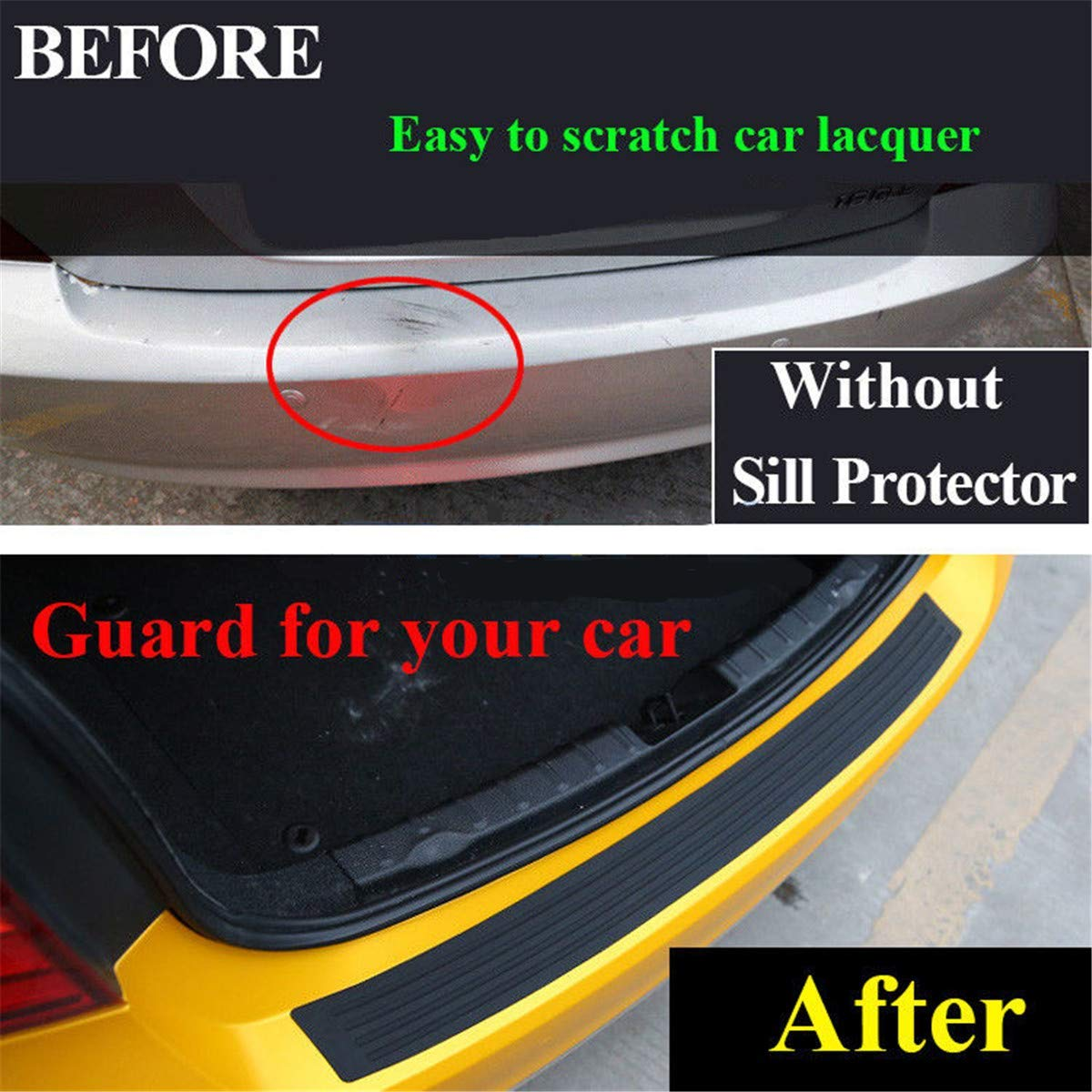 Health mall Bumper Protector Guard Universal Black Rubber Scratch,Resistant Trunk Door Entry Guards Accessory Trim Cover for Car Pickup SUV Truck,Easy D.I.Y Installation 35.5 in