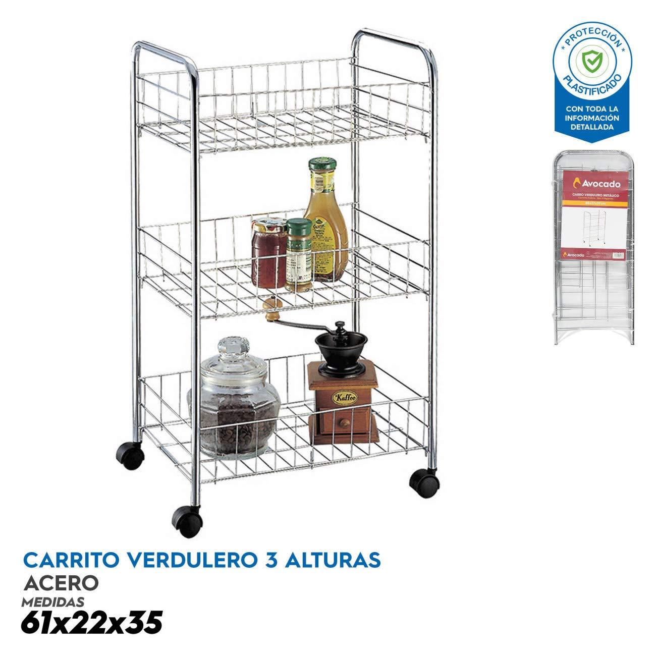 Avocado Carro verdulero Multiusos 3 estantes 61x22x35 ...