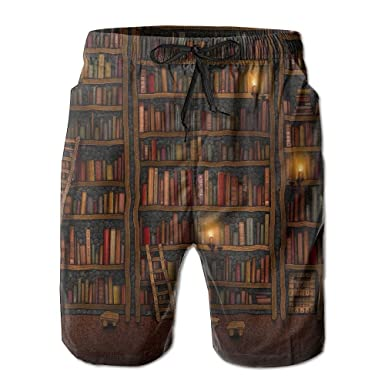 Sssssddd Tall Bookshelf Mens Tie Tropical Quick Drying Shorts Swimming Volleyball Beach Trousers