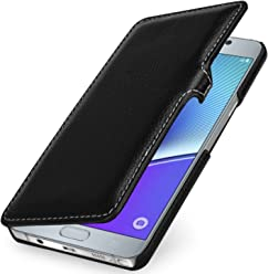 StilGut Book Type Case con Clip, Custodia in Vera Pelle per Samsung Galaxy Note 5, Nero