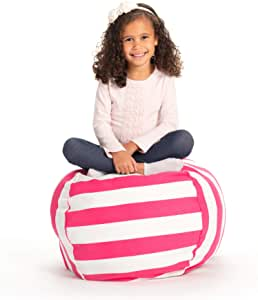 """Creative QT Stuffed Animal Storage Bean Bag Chair - Toddler Size Stuff 'n Sit Organization for Kids Toy Storage - Available in a Variety of Sizes and Colors (27"""", Pink Stripe)"""