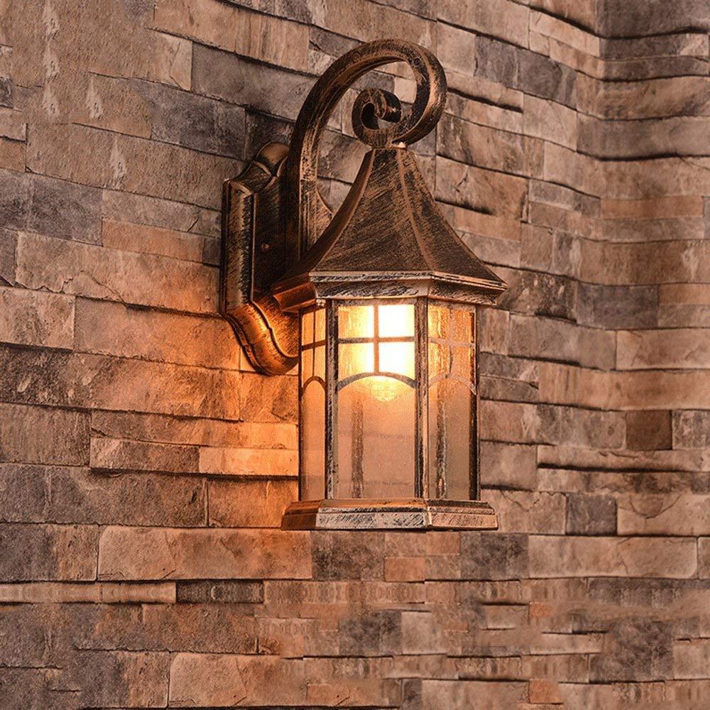 Hai Ying   American Country Außenwandleuchte Wasserdichte Außenwandleuchte Wandlampen Kreativer Garten Balkon Treppe Außerhalb Tor Shop Eingang Wandleuchte Lampe E27 (Farbe  Bronze)