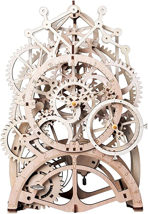 Robotime 3D DIY Mechanical Gear Wooden OWL CLOCK Modern Puzzle Kit NEW