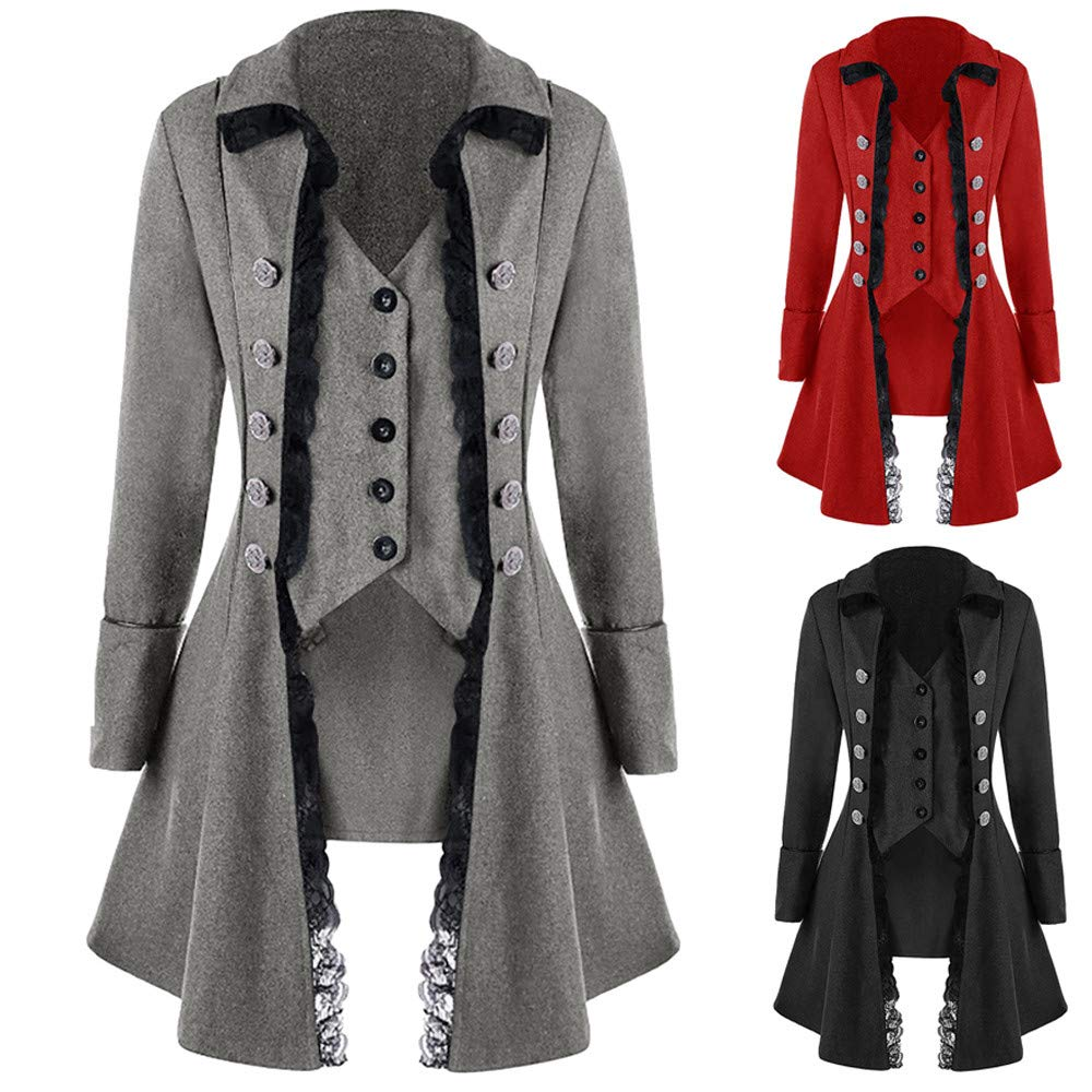 2XL, Red2 COPPEN Clearance Women OverCoat Vintage Long-sleeved waist Back Bandage Lace Christmas Jacket