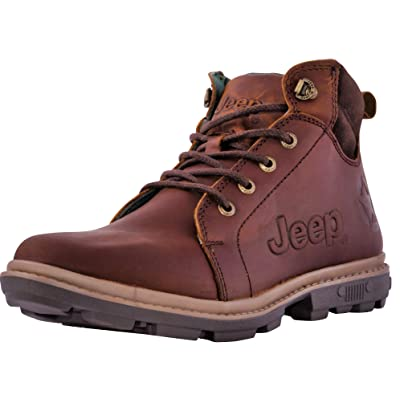 Jeep Men's Freedom Hiking Boots Ankle High Leather Outdoor Camping Work Shoes   Hiking & Trekking