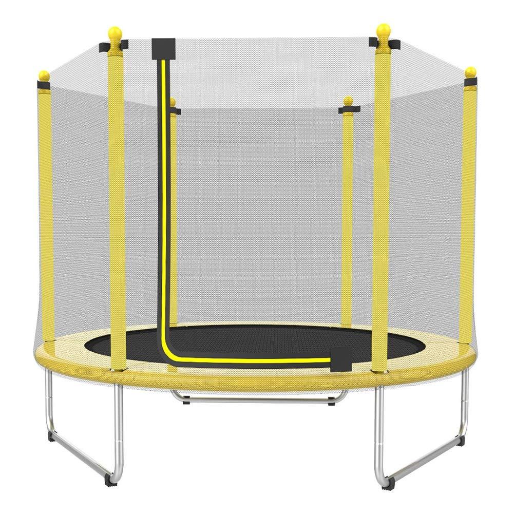 Trampolin, Kinder-Rundtrampolin mit Sicherheitsnetz für Indoor/Outdoor Ø 150 cm - Max Load 150KG (Gelb)