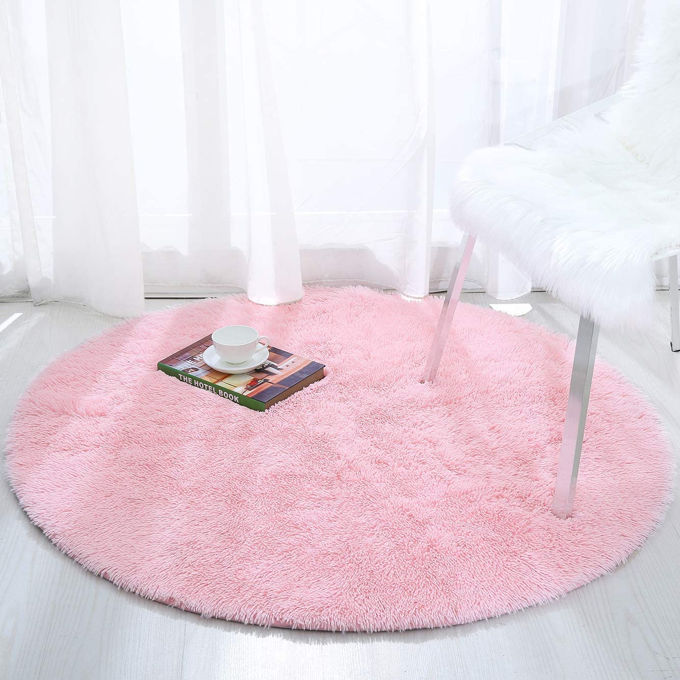 Softlife Fluffy Soft Round Bedroom Rugs 4 x 4 Feet Shaggy Circle Area Rug for Girls Boys Kids Room Nursery Princess Castle Living Room Home Decor Circular Floor Carpet, Pink