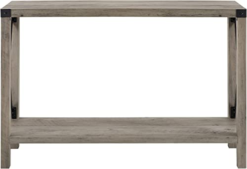 New 46 Inch Metal X Frame Entry Table with Grey Wash Finish