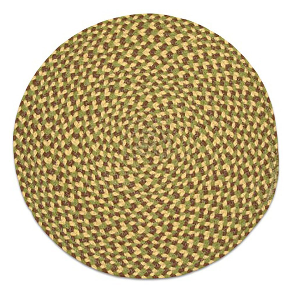 """Unique & Custom {15'' Inch} Single Pack of Round Circle """"Non-Slip Grip Texture"""" Large Table Placemat Made of Flexible 100% Cotton w/ Sage Rustic Country Braided Folk Design [Colorful Green & Brown]"""