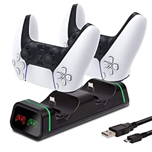 PS5 Dualsense Charging Station with LED Indicator | Fast Playstation 5 Charging Station for Dual Controllers | PS5 Controller Charger Station | PS5 Multi Charging Dock Compatible with Xbox One