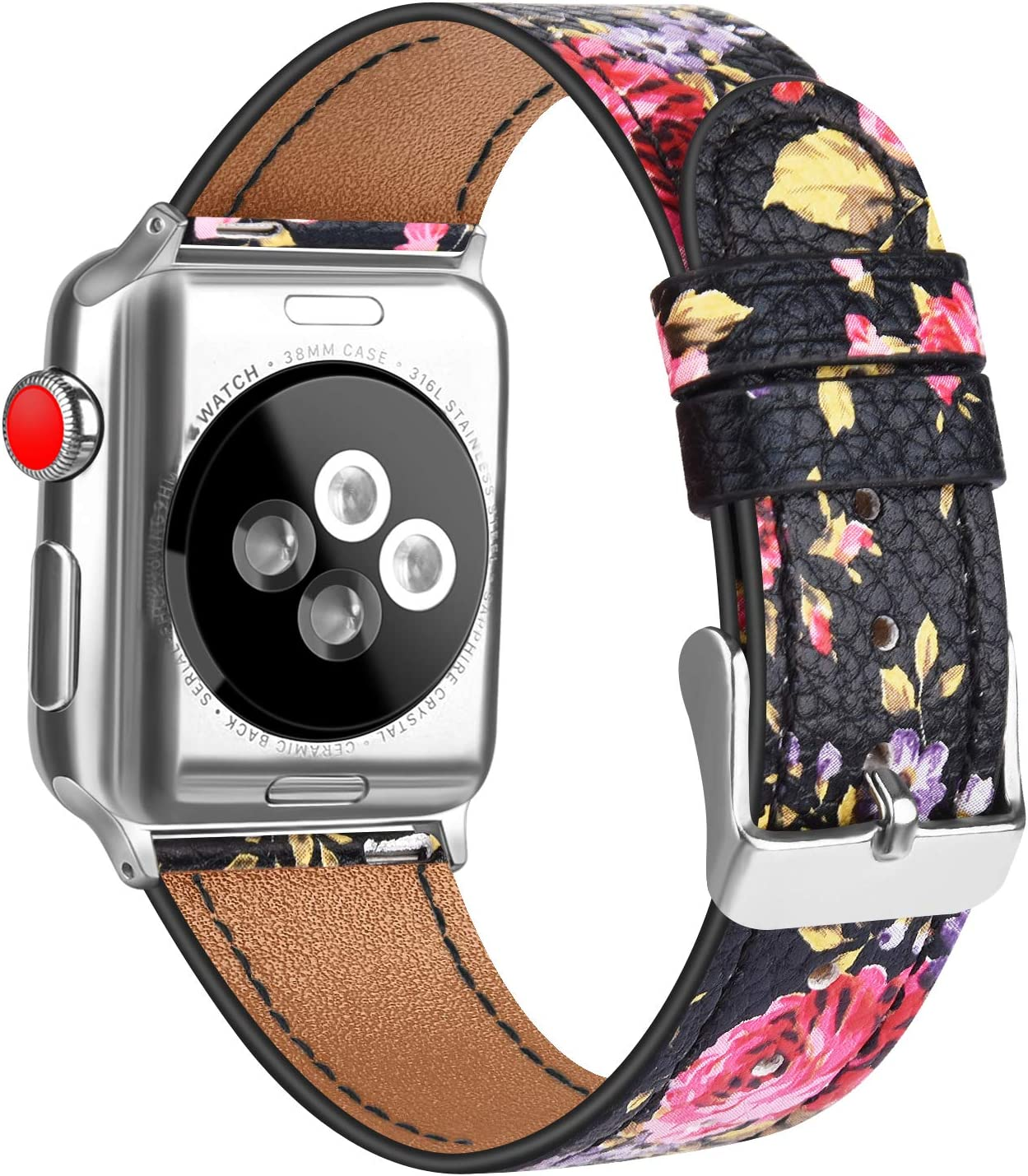 Oumida Leather Band Compatible with Apple Watch Band 44mm 42mm 40mm 38mm, iWatch Bands Series SE, Series 6, Series 5, Series 4, Series 3, Series 2, Series 1 for Women Men