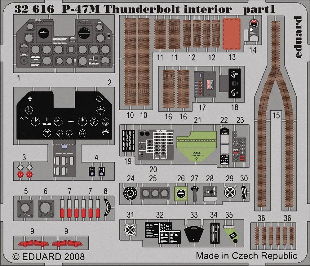 Eduard Photoetch 1:32 - P-47M interior S.A. (Hasegawa) - EDP32616