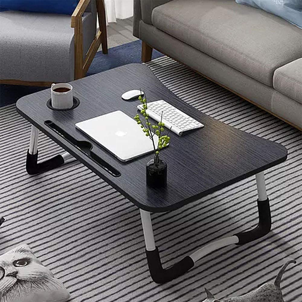 Laptop Table for Bed, Foldable Multifunction Laptop Desk Tray with Ipad and Cup Slot, Portable Wooden Notebook Table Lap Desk Breakfast Tray Perfect for Bed Sofa Floor Couch