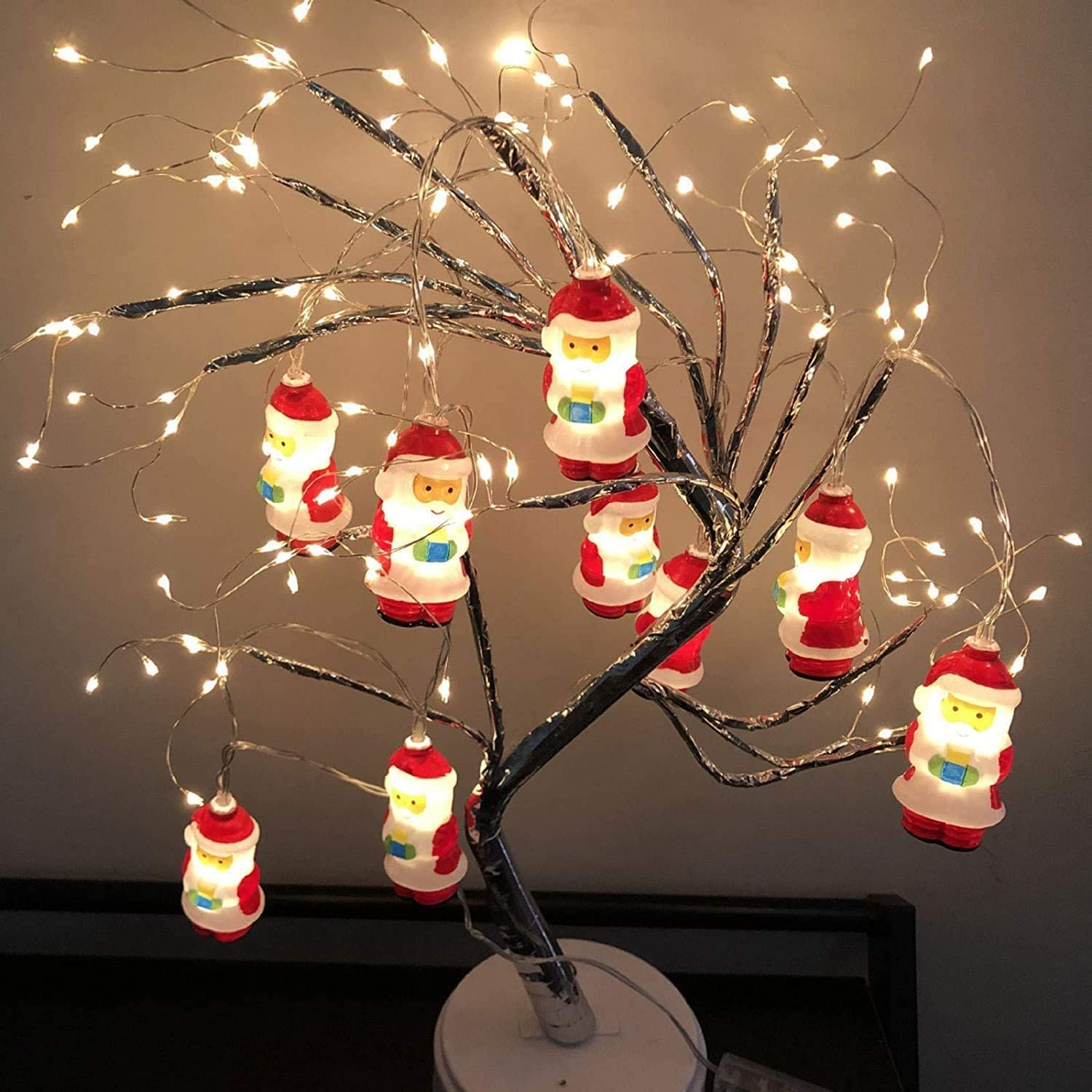 Santa Claus String Battery Operated Lights with 10 LEDs,for Indoor Outdoor Christmas Tree Garden Party Livingroom Bedroom Decoration 3M LED Christmas Snowman LED Lights