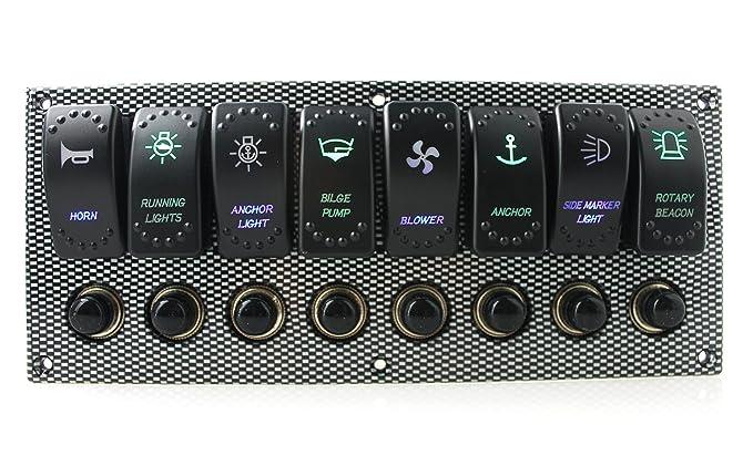 ambuker DC 12 V/24 V 8 Gang Wasserdicht Lasergravur LED Kippschalter ...