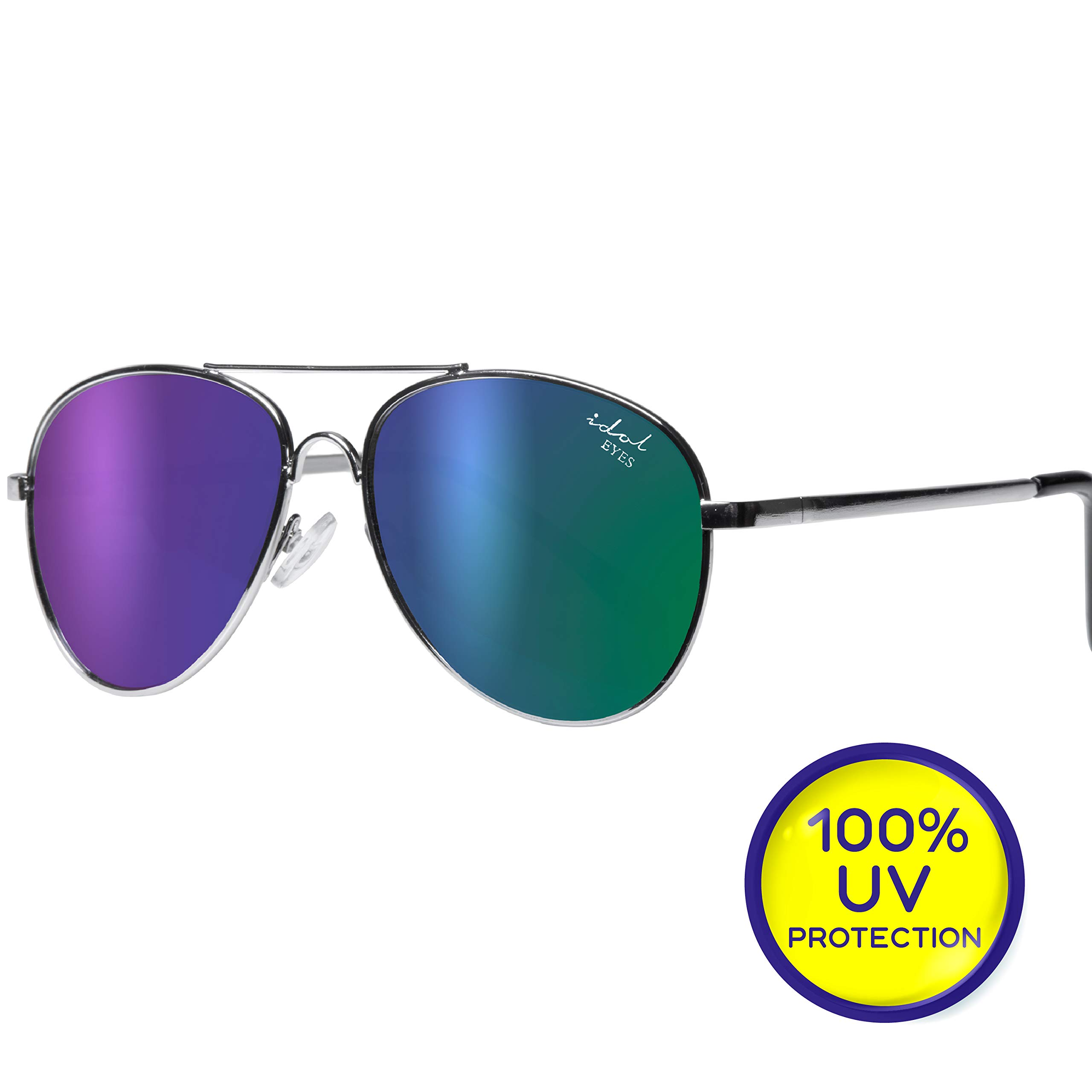 Kids Aviator Sunglasses for Girls and Boys in Gold/Silver Metal Frame - Idol Eyes Baby Sunglasses with Microfiber Pouch + 100% UV Protection by Livin' Well