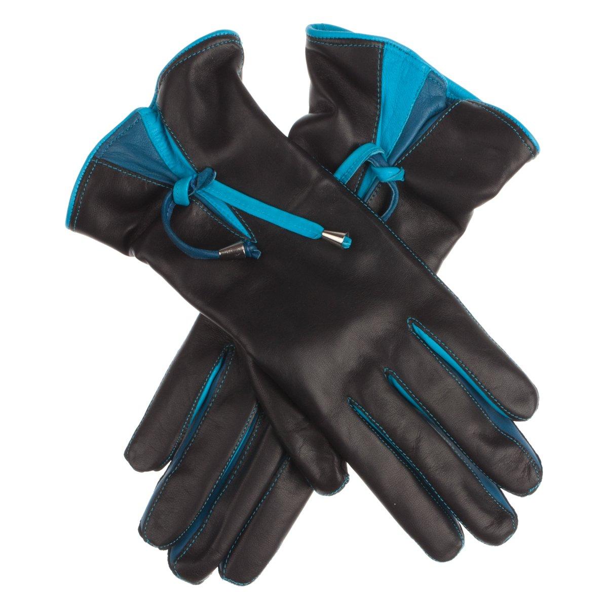 Lundorf Women's Tatiana Leather Gloves 100% Wool Lining - Danish Design - Navy - 6.5
