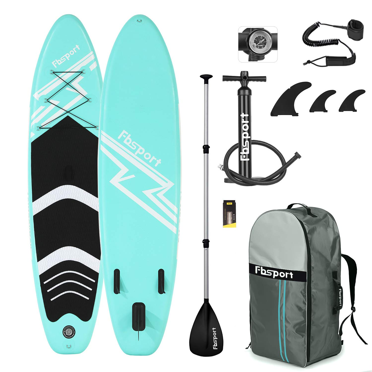 FBSPORT Sup Hinchable, 15 cm de Espesor Tabla de Surf Sup Paddleboard, Tabla Inflable de Paddle Surf, Set de Sup con Tabla y Accesorios