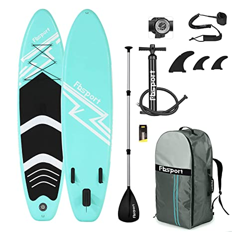 FBSPORT Sup Hinchable, 15cm de Espesor Tabla de Surf Sup Paddleboard, Tabla Hinchable de Paddle Surf + Sup Paddle Remo de Ajustable, Set de Sup con ...