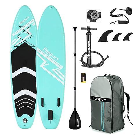 FBSPORT Sup Hinchable, 15cm de Espesor Tabla de Surf Sup Paddleboard, Tabla Hinchable de Paddle Surf + Sup Paddle Remo de Ajustable, Set de Sup con ...