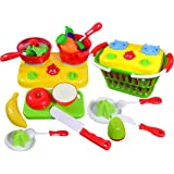 CoolToys Fruit and Vegetable Cutting Playset – Pretend Stovetop and Cooking Utensils in Plastic Grocery Basket (20 Pieces)