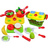 Amazon Price History for:CoolToys Fruit and Vegetable Cutting Playset – Pretend Stovetop and Cooking Utensils in Plastic Grocery Basket (20 Pieces)