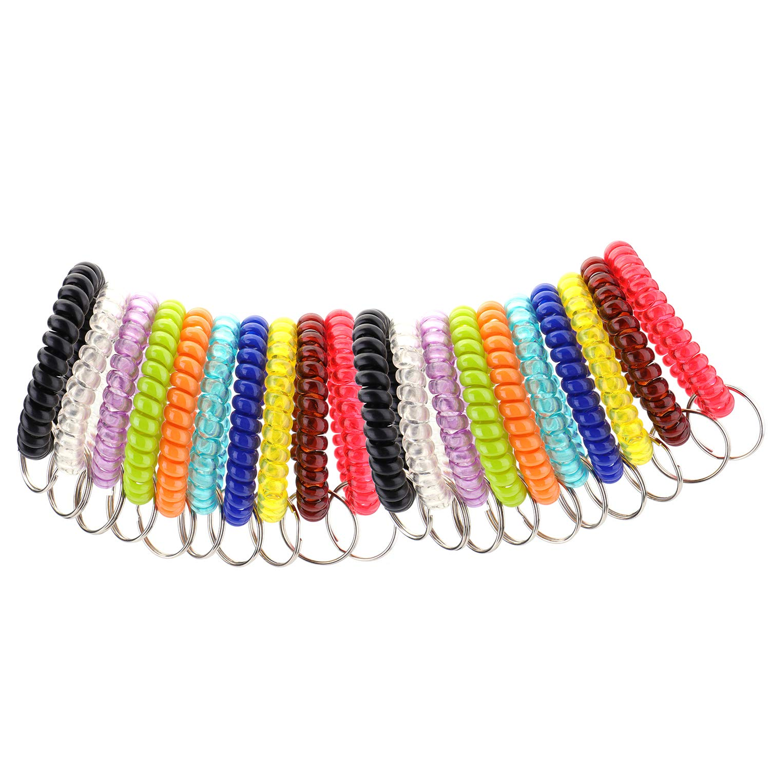 Fasmov 20 Pcs Mix-Colour Plastic Stretchable Spring Coil Wrist Band Key Ring Chain for Office, Shopping Mall, Sauna and Outdoor Activities