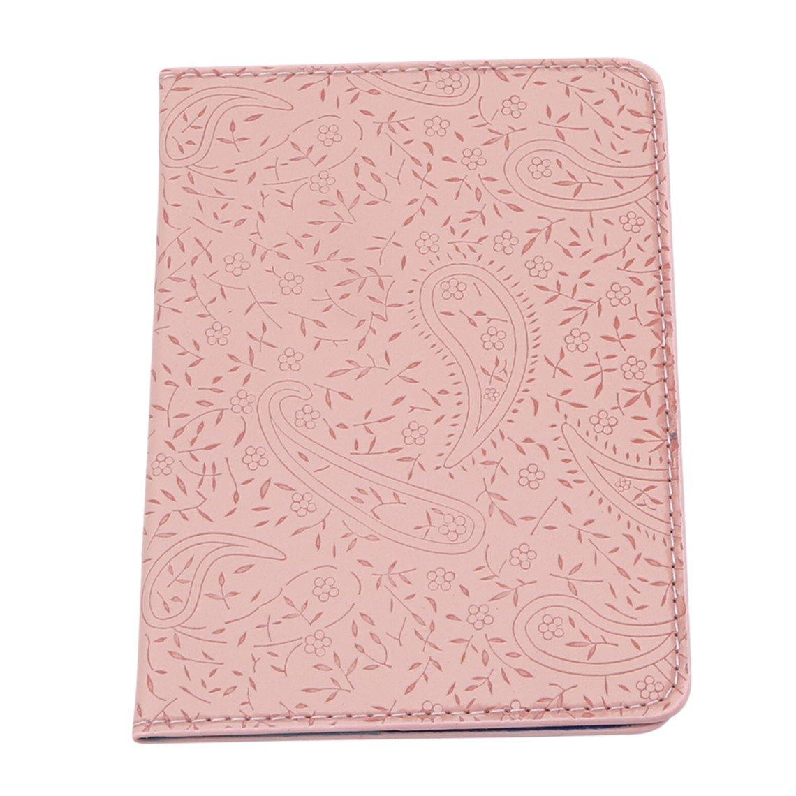 Rurah Cute Passport Holder Case Lavender Leather Passport Cover Holder Case Travel Card Wallet,Pink
