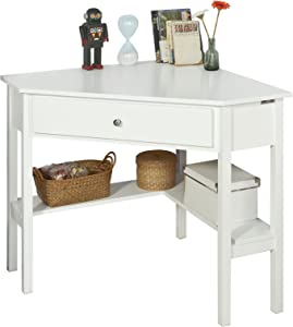 Haotian FWT931-W,White Corner Desk, Triangle Table Desk with Drawer, Home Office Desk Computer Workstation