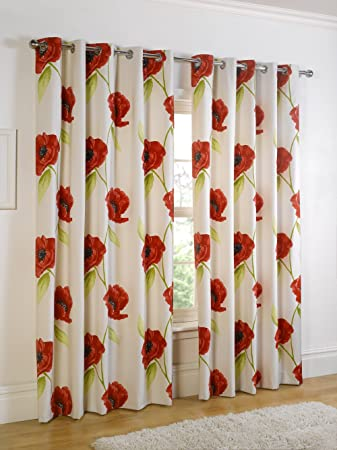 Poppy Cream Red Green Eyelet Lined Curtains 90
